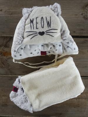 Комплект шапка и  шарф DEMBOHOUSE. Цвет: молочный