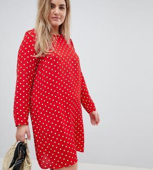 Glamorous Curve Свободное платье с длинными рукавами в горошек. Цвет: красный