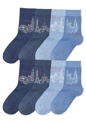 Носки, 8 пар Arizona. Цвет: 8x джинсовые тона
