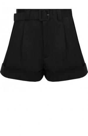 Однотонные хлопковые мини-шорты с поясом Marc Jacobs. Цвет: черный