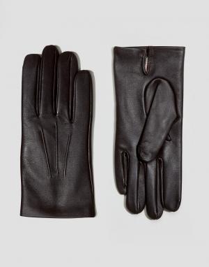 Dents Кожаные перчатки с кашемировой подкладкой Bath. Цвет: коричневый