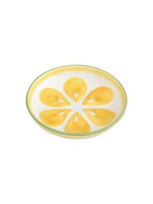 Тарелочка под лимон Elan Gallery. Цвет: желтый, белый