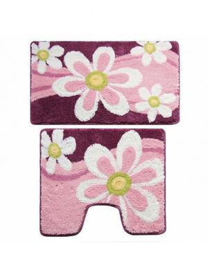 Набор ковриков для ванной комнаты Milardo. Цвет: розовый, красный