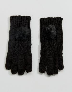 New Look Перчатки с узором косичка и помпонами из искусственного меха. Цвет: черный