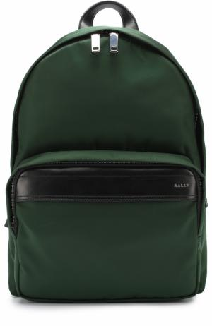 Текстильный рюкзак с кожаной отделкой Bally. Цвет: зеленый