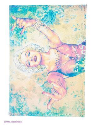 Обложка для паспорта Мерлин+Мадонна Mitya Veselkov. Цвет: светло-бежевый, бледно-розовый, бирюзовый