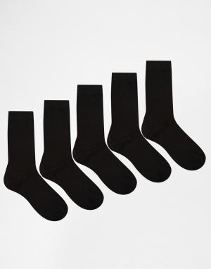 Urban Eccentric Комплект из 5 пар черных носков s. Цвет: черный