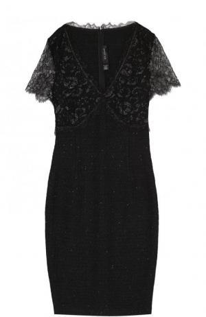 Приталенное мини-платье с кружевными рукавами St. John. Цвет: черный