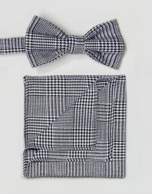 ASOS Галстук-бабочка и платок для пиджака в клетку принц Уэльский. Цвет: черный