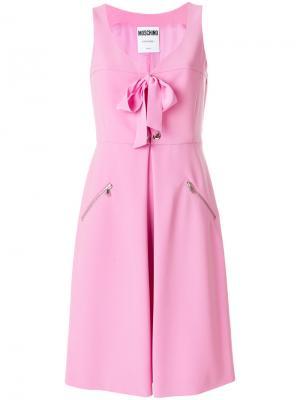 Платье-бюстье с бантом Moschino. Цвет: розовый и фиолетовый