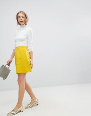 ASOS Мини-юбка A-силуэта. Цвет: желтый