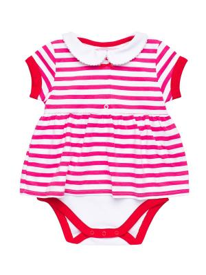 Боди-платье NinoMio. Цвет: белый, фуксия