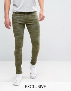 Brooklyn Supply Co. Супероблегающие джинсы зеленой камуфляжной расцветки C. Цвет: зеленый