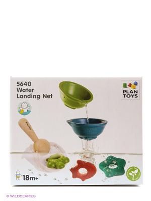 Набор Сачок с рыбками PLAN TOYS. Цвет: зеленый, бежевый, синий
