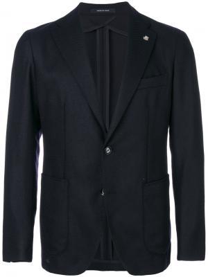 Однобортный пиджак кроя слим Tagliatore. Цвет: синий