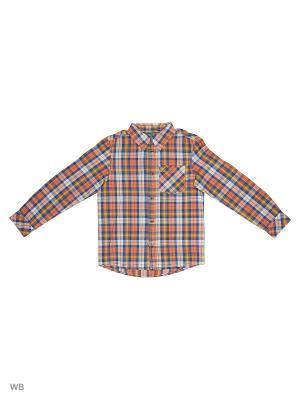 Рубашка United Colors of Benetton. Цвет: синий, оранжевый