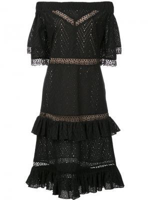 Многоярусное платье с открытыми плечами Prabal Gurung. Цвет: чёрный