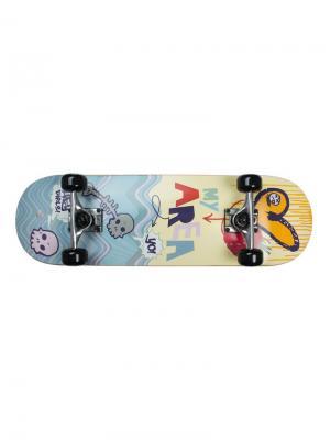 Скейтборд My Area 28 Sweet Raspberry. Цвет: серо-голубой, желтый