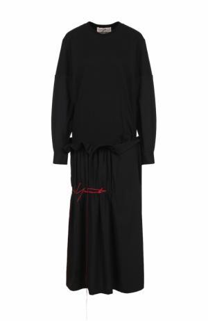 Платье-миди с длинным рукавом и драпировкой Yohji Yamamoto. Цвет: черный