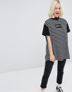 Lazy Oaf Полосатая футболка оверсайз с вышивкой. Цвет: мульти