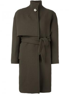 Пальто с поясом Gianluca Capannolo. Цвет: зелёный