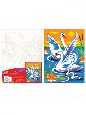 Роспись холста по номерам Лебеди КРЕАТТО. Цвет: белый, голубой, оранжевый