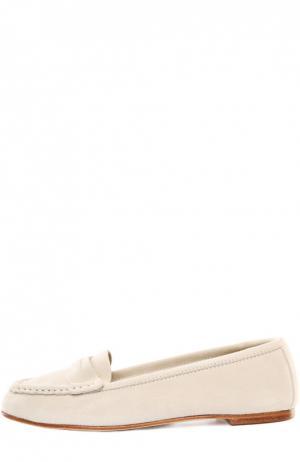 Замшевые мокасины с перемычкой Loro Piana. Цвет: бежевый