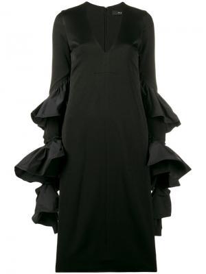 Платье с оборками на рукавах Molotov Ellery. Цвет: чёрный