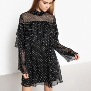 Платье с воланами, принт в горошек La Redoute Collections. Цвет: черный наб. рисунок белый