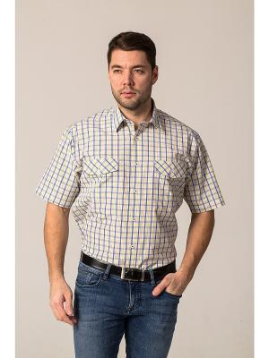 Рубашка John Jeniford. Цвет: бежевый, синий