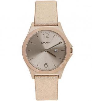 Часы с золотистым кожаным ремешком DKNY