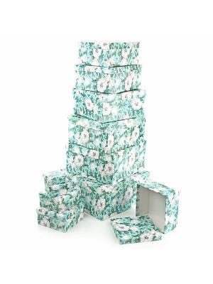 Набор из 11 картонных коробок 5,5*5,5*2,5-25,5*25,5*13см, Анаис VELD-CO. Цвет: бирюзовый