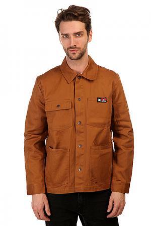 Куртка джинсовая DC Front Snap Wheat Shoes. Цвет: коричневый