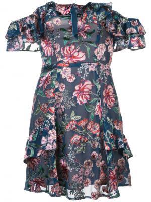 Floral print short dress For Love And Lemons. Цвет: синий
