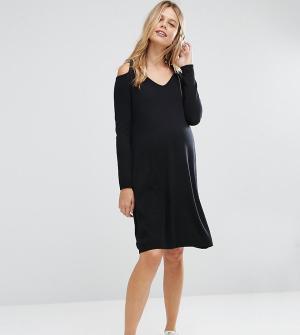 ASOS Maternity Вязаное платье для беременных из смешанного кашемира. Цвет: черный