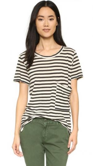 Длинная футболка с карманом Current/Elliott. Цвет: кремовый/черная полоска с эффектом поношенности