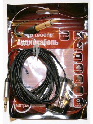 Кабель соединительный Pro Legend, 3.5 Jack (M)  - плоский кабель, черный, 2м. Legend. Цвет: черный