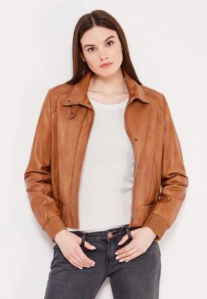 Куртка кожаная Boss Orange. Цвет: коричневый