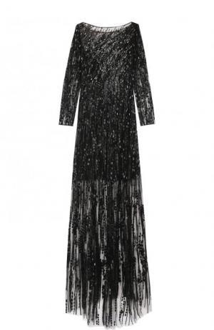 Платье-макси с вышивкой и подолом Jenny Packham. Цвет: черный