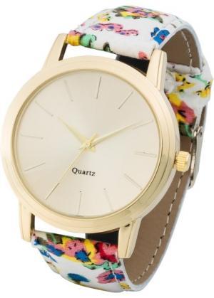 Часы с узорчатым браслетом (кремовый в цветочек/золотистый) bonprix. Цвет: кремовый в цветочек/золотистый