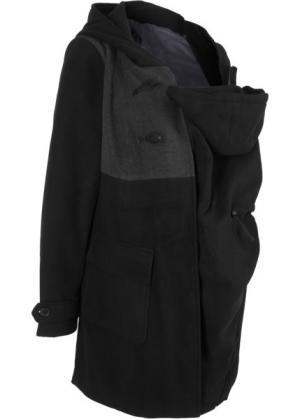 Для будущих мам: дафлкот с карманом-вставкой малыша (черный) bonprix. Цвет: черный