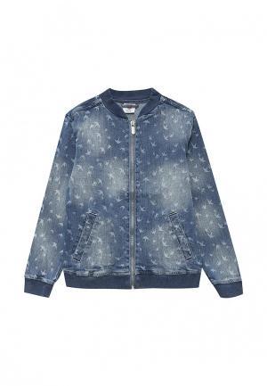 Куртка джинсовая Button Blue. Цвет: синий
