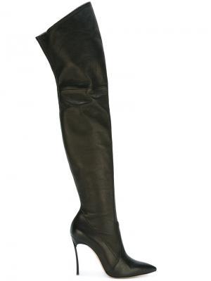 Ботфорты с заостренным носком Casadei. Цвет: чёрный
