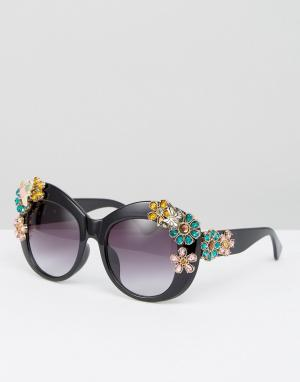 Jeepers Peepers Большие солнцезащитные очки с 3D цветами. Цвет: черный