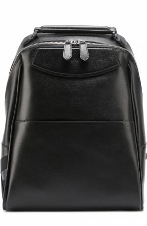 Кожаный рюкзак с внешним карманом и текстильной отделкой Canali. Цвет: черный