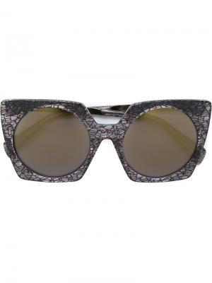 Солнцезащитные очки с квадратной оправой Yohji Yamamoto. Цвет: чёрный