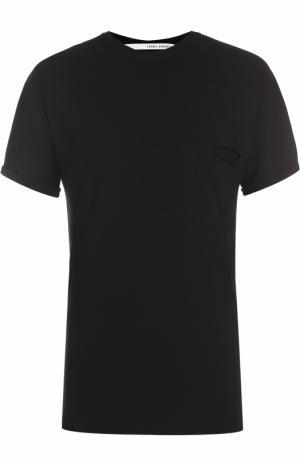 Хлопковая футболка с накладным карманом Isabel Benenato. Цвет: черный
