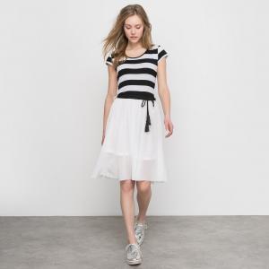 Платье в полоску/однотонное MOLLY BRACKEN. Цвет: в полоску черный/белый