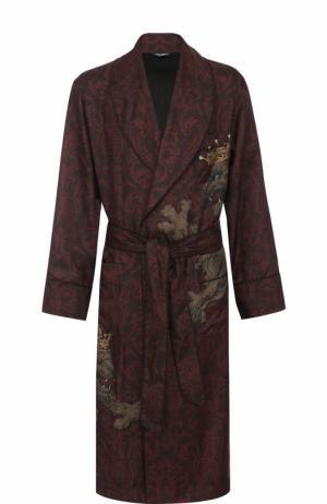 Шелковый халат с поясом и шалевым воротником Dolce & Gabbana. Цвет: бордовый