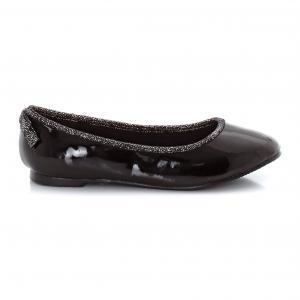 Балетки с бантом на каблуке R édition. Цвет: темно-золотистый,черный лак